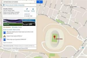 """Así apareció en Google Maps con la frase """"Campeonatos comprados"""". Foto: Tomado de web"""