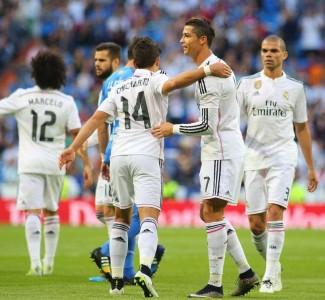 Contando Liga, Copa del Rey y Champions, 'Chicharito' marcó nueve goles con la camiseta merengie. Foto: Mexsport