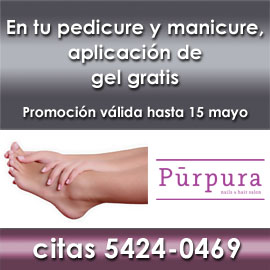 Púrpura, pedicure y manicure