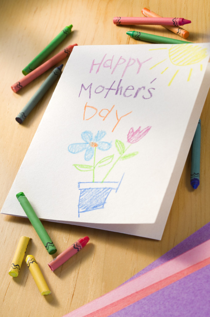 Crayons with Mother's Day card