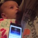 VIDEO: Bebé deja de llorar cuando escucha el himno de la Champions League